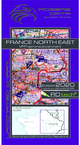 2020 France North East VFR Chart 1:500 000 - Rogersdata